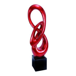 "BZBZ49798 - Polystone Sculpture with Ribbon Shape in Red with Black Base - Polystone Sculpture with Ribbon Shape in Red with Black Base. This stunning ribbon shaped home accessory is the latest in decorative items. It comes with a dimension of 52""H x 17""W x 9""D."