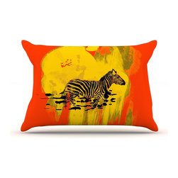 """Kess InHouse - Frederic Levy-Hadida """"Watercolored Red"""" Zebra Pillow Case, Standard (30"""" x 20"""") - This pillowcase, is just as bunny soft as the Kess InHouse duvet. It's made of microfiber velvety fleece. This machine washable fleece pillow case is the perfect accent to any duvet. Be your Bed's Curator."""