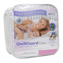 Protect-A-Bed - Protect-A-Bed QuiltGuard Cotton Full-size Mattress Pad - This Protect-A-Bed full-size mattress pad by QuiltGuard features an absorbent and waterproof Miracle Membrane that will protect your mattress against stains. This fitted pad has a cotton shell, polyurethane lining, and 100 percent polyester skirt.