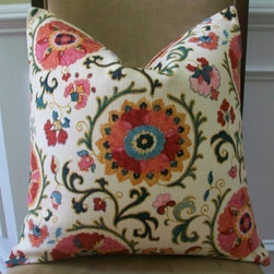 Suzani Pillow Cover - This pillow cover is sewn from a fabric that's Uzbekistan-meets-Pennsylvania Dutch. It's an intricate suzani pattern that will add a layer of global style to your home.