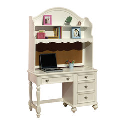 "Acme - Athena Collection White Finish Wood Children's Desk and Hutch - Athena collection white finish wood children's desk and hutch . Desk features 4 drawers , hutch with multiple shelves. Desk measures 50"" x 20"" x 30"" H. Hutch measures 48"" x 13"" x 47"" H. Some assembly required."