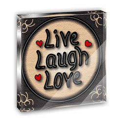 """Made on Terra - Live Laugh Love Hearts Mini Desk Plaque and Paperweight - You glance over at your miniature acrylic plaque and your spirits are instantly lifted. It's just too cute! From it's petite size to the unique design, it's the perfect punctuation for your shelf or desk, depending on where you want to place it at that moment. At this moment, it's standing up on its own, but you know it also looks great flat on a desk as a paper weight. Choose from Made on Terra's many wonderful acrylic decorations. Measures approximately 4"""" width x 4"""" in length x 1/2"""" in depth. Made of acrylic. Artwork is printed on the back for a cool effect. Self-standing."""
