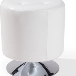 "Armen Living - Ruby Round Ottoman in White - Unmistakably posh button-tufting detail enhances the distinguished silhouette of this updated classic.; Oottoman from the Ruby Round Collection; Antique bonded leather; Convenience in a nutshell. This ottoman provides for comfortable seating or resting your feet; Color: White; Comes with standard 1 year limited warranty; Dimensions: 17""W x 17""D x 19""H"