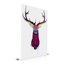 "Apt2B - Elk Head' Print by Maxwell Dickson, 24"" x 36 - Room a little stuffy? This elk with graffiti attitude will turn your old space on its head. Printed on archival museum-quality canvas, it's finished with gallery-wrapped edges and comes ready to hang. Don't buck it; get this one in your sights today."