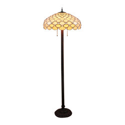 White Grid Tiffany Two Light Floor Lamp - Add a bit of Art Nouveau-inspired style and warmth to your decor with our unique floor lamp. This Tiffany style floor lamp features colorful hand-blown art glass with jewel accents. It glows warmly, and dual pull chains are provided for easy controlling the light.
