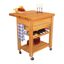Catskill Craftsmen - Catskill Craftsmen Baby Grand Butcher Block Workcenter with Wine Rack in Natural - Catskill Craftsmen - Kitchen Carts - 2008 - Bring a warm light to your kitchen with the Catskill Craftsmen Baby Grand Workcenter with Wine Rack. The heavy duty wheels make this unit an easy, mobile addition to your home. So partake in some fine cuisine with the Baby Grand Workcenter.