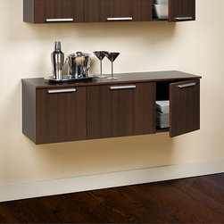 Prepac - Yaletown Espresso Wall-mounted Buffet - This trendy wall-hanging buffet is designed for use in a wide range of applications. In an espresso finish, this stylish buffet features an elegant contemporary design with hidden, self-closing hinges and solid metal handles.