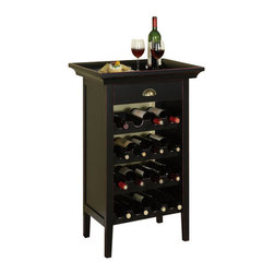 Powell Furniture - Wine Cabinet w Merlot Rub-Through in Black Fi - Capacity: 16 bottles. Perfect piece for a wine enthusiast. Single drawer with pull is the perfect place to store wine tools and amenities. Removable tray top allows to carry drinks and snacks to other areas of home. Made of MDF. 24 in. W x 12.50 in. D x 37.50 in. H