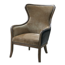 """Uttermost - Snowden Tan Wing Chair - Solid wood construction with reinforced joinery and hand rubbed, weathered pine exposed frame. Plush, caramel tan velvet is accented by solid brass nails and surrounded in deep chocolate faux leather. Seat height is 18""""."""