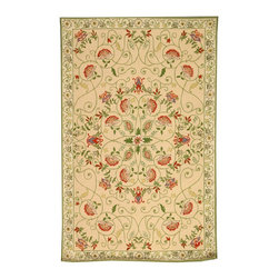 """Safavieh - Chelsea Rug, Beige/Green, 5' 3"""" x 8' 3"""" - 100% pure virgin wool pile, hand-hooked to a durable cotton backing. American Country and turn-of-the-century European designs. This collection is handmade in China exclusively for Safavieh."""