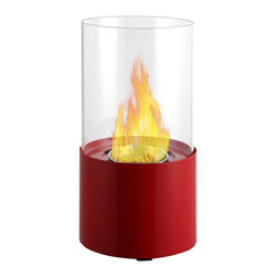 "Ignis Products - Circum Red Round Tabletop Ventless Ethanol Fireplace - For small rooms and compact spaces, you can't beat the functional beauty of this Cirum Red Tabletop Ventless Ethanol Fireplace. This unique design fits on your table to throw warm, comforting heat your way at the end of a long, hard day. It has a red metal base and a clear circular glass barrier that shields the included 0.5-liter ethanol burner insert. Enjoy an open flame whenever you like and wherever you want with this pretty fireplace that sits right on your table. It burns for approximately two hours between fills and puts out 2,000 BTUs of warm, comforting heat. Dimensions: 11.5"" x 6.5"" x 6.5"". Features: Tabletop, Freestanding - can be placed anywhere in your home (indoors & outdoors). Round Glass Barrier. Ventless - no chimney, no gas or electric lines required. Easy or no maintenance required. Capacity: 0.5 Liter. Approximate burn time - 2 hours per refill. Approximate BTU output - 2000."