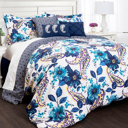 Lush Décor - Blue Floral & Paisley Seven-Piece Comforter Set - Featuring an eye-catching combination of color, this extra-comfy comforter set enlivens bedroom décor.   Includes comforter, four shams and two throw pillows 100% polyester Spot clean Imported