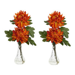 """Nearly Natural - Mum with Bud Vase Silk Flower Arrangement (Set of 2) - Mum's the word hereG�� ok, we couldn't resist. But really, you'll agree it IS the word when you see this beautiful mum set in person. There aren't many flowers that retain that classic flower shape, but are still varied enough to be considered interesting. With its full bloom and somewhat pointy petals, the mum is definitely """"classically fascinating"""". Couple that look with the delicate curves of the bud vase (complete w/ liquid illusion faux water), and you have a real winner. Colors: Orange; Pot Size: W: 3 in, H: 6 in. Height: 12.5 in; Width: 6 in; Depth: 6 in."""