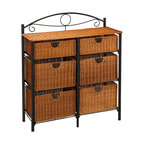 """Holly & Martin - Bernard Iron/Wicker Storage Chest - Feeling creative? Add this beautiful 6-drawer wicker chest to any room in your home for an attractive storage option. The black frame is constructed of metal tube for durability and design. Aligned in two columns of three, there are six drawers. The four lower baskets measure 14.25"""" wide, 11"""" deep and 8.75"""" tall making them perfect for blankets, clothes, or even pots and pans. The top two drawers are the same width and depth, but only 5"""" tall allowing for storage of sheets, magazine, or silverware. Consider placing this cute storage chest in your kitchen, dining room, laundry room, bedroom, or child's play area."""