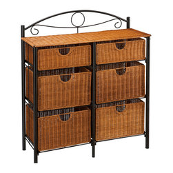 "Holly & Martin - Bernard Iron/Wicker Storage Chest - Feeling creative? Add this beautiful 6-drawer wicker chest to any room in your home for an attractive storage option. The black frame is constructed of metal tube for durability and design. Aligned in two columns of three, there are six drawers. The four lower baskets measure 14.25"" wide, 11"" deep and 8.75"" tall making them perfect for blankets, clothes, or even pots and pans. The top two drawers are the same width and depth, but only 5"" tall allowing for storage of sheets, magazine, or silverware. Consider placing this cute storage chest in your kitchen, dining room, laundry room, bedroom, or child's play area."