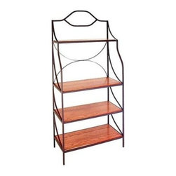 Havana Bakers Rack with Wood Shelves - This modern stylistic rack will make a statement in your home with unadorned support and minimalist embellishments. A total of 4 solid wood shelves in your choice of finish can hold everything from bathroom towels to your most delicate collectibles. The steel frame with arched loop design is also available in your choice of finishes. Choose your wood and metal colors and create the ideal shelf for you and your home. The top shelf is 9 inches deep and the others are 18 inches deep. Important Dimensions:Outside Dimensions: 36W x 18D x 77H inchesInside Dimensions: 34.5W x 18D inchesTop Shelf: 34.5W x 10.5DSecond Third & Fourth Shelf: 34.5W x 16.5D inchesTop Shelf to second shelf: 23.5 inchesSpace between bottom 3 shelves: 14 inchesSpace between floor and bottom shelf: 6 inches