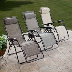 Coral Coast Modern Mesh Zero Gravity Lounge Chair - Add infinite comfort and a splash of modern style to your deck or patio with a Coral Coast Quick Dry Zero Gravity Recliner. A sling seat provides full-body support while yieldign comfortably to your shape. The seat is also water-resistant offering extra durability. The powder-coated steel frame will put you at ease knowing you're resting on a stable frame that will last. Infinite recline points within the range of motion allow for precise positioning but because the chair is designed to relieve strain on your lower spine and back it does not recline to a fully flat position. This chair folds up for easy storage and transport. Available in your choice of neutral colors and modern patterns this patio recliner also features a removable headrest to make your afternoon outside even more relaxing. Fully reclined the Zero Gravity Recliner measures 63L x 25W x 32H inches. About Coral CoastWhat if when you closed your eyes you pictured yourself in your own backyard? Coral Coast has a collection of easygoing affordable outdoor accessories for your patio pool or backyard. The latest colors and styles mingle with true classics in weather-worthy fabrics and finished woods ready for relaxation. Make yours a life of leisure.