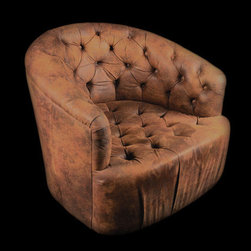 Low Button Swivel Chair - Vintage armchair that has been reupholstered in a lush brown suede with button tufting. The frame swivels on its base, making it ideal for any seating area. Entirely customizable in a number of materials.