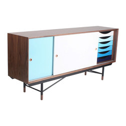 Inova Team -Rustic MDF And Steel Blues Sideboard - Color your space with this smooth mid-century sideboard. It's a cool-hued choice for organization with six stacked drawers in a trendy blue ombre and two icy-toned sliding doors.