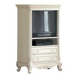 Homelegance - Homelegance Cinderella 35 Inch Armoire in White - The Cinderella collection is your little child's dream. The Victorian styling incorporates floral motif hardware, ecru painted finish and traditional carving details that will create the feeling of a room worth of a fairy tale princess.