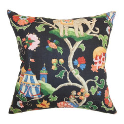 The Pillow Collection - Faylinn Floral Pillow Midnight - Decorate your home like a pro with this whimsical accent pillow. This throw pillow provides a visually appealing detail which includes floral and animal prints. The intricate pattern comes in shades of yellow, red, blue, green, orange and set against a midnight blue background. Place this decor pillow in your children's playroom or bedroom to make it livelier and fun. This square pillow is American-made and uses 100% soft and cushy cotton material. Hidden zipper closure for easy cover removal.  Knife edge finish on all four sides.  Reversible pillow with the same fabric on the back side.  Spot cleaning suggested.