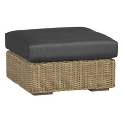 Newport Ottoman with Sunbrella® Charcoal Cushion - Low-slung and lounge-worthy, our Newport collection extends a welcome invitation to kick back and relax. Modern, squared profiles mix and match to suit your space, handwoven in a contemporary, chunky weave of eco-friendly, care-free resin wicker neatly wrapped over clean aluminum frames with a taupe powdercoat finish.  Chic charcoal cushions adds a soft silhouette in fade-, water- and mildew-resistant Sunbrella® acrylic fabric.