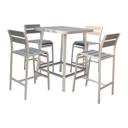 Boraam - Boraam Polylumber 3 Piece Brava Pub Set - Time to refresh your indoor or outdoor space with the new Brava Three Piece Dining Set from Boraam's Polylumber line. The Brava set includes the Fresca Pub Table and two Fresca Barstools. Constructed with an Aluminum frame and stainless steel hardware. The table top and stools are also made of high-density polyethylene. Contrast to outdoor wood furniture  Polylumber is environmentally friendly  low maintenance and resistant to heat and water. The Fresca is naturally immune to corrosion  durable and light weight. The table features a pluggable umbrella hole and both the table and stools are all finished in a gray stain Polylumber finish and brushed Aluminum frame. Make sure to pick up your Pub Set today!