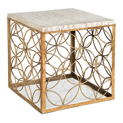 Kathy Kuo Home - Peck Hollywood Regency Travertine Gold Leaf Iron Cube End Table - Travertine plus gold leaf equals an alluring end table. Together, these two timeless materials will look at once modern while recalling the best of Hollywood Regency. Set down your drink and soak up the stylish atmosphere.