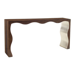 John Richard - John Richard Large Profile Console EUR-02-0160 - The inside is profiled and finished in misty silver, while the outside and edges are veneered in smoked figured eucalyptus.