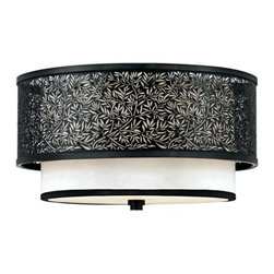 Quoizel - Utopia Flushmount by Quoizel - Warm, classic opulence in a lovely transitional design. The Quoizel Utopia Flushmount includes a Cream silk shade with a Mystic Black metal overlay (and a detailed leaf motif). Offers rich, versatile appeal--perfect for a variety of decors from classic to contemporary. A nice option for bedrooms, bathrooms, living rooms and kitchens. Pairs beautifully with the rest of the Quoizel Utopia lighting collection. For more than 80 years, Quoizel (based in Charleston, SC) has dedicated itself to bringing timeless lighting designs into modern homes. By consciously avoiding design fads, consistently balancing form and function and using only the highest quality materials, Quoizel lighting designs do indeed stand the test of time.