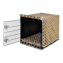 Frontgate - Luxury Crate Cover - Enhances your pet's sense of privacy and security. Machine wash and dry on cool, gentle cycle. Mattress not included. This luxury cover not only gives your dog privacy and security, but it also adds a touch of class to ordinary wire crates. Designed with elegant crushed microvelvet with contrast piping, it's sure to add a little luxe to your dog's life. .  .  .