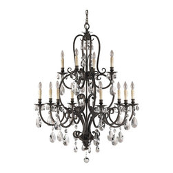 Murray Feiss - Murray Feiss Salon Maison Traditional Chandelier X-STA4+8/9222F - The excellent steel works present in the stylish frame of the Murray Feiss Salon Maison Traditional chandelier displays an elaborate scroll work with curvaceous contours. The aged tortoise shell finish adds to the classical look of the frame. The chandelier is adorned with crystal pendants that provide a sparkling appeal.