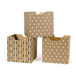 Quark Enterprises - Leaf Pattern Decorative Storage Boxes, 3-Pack - Our Modern Patterns Kids Storage Bins are the perfect addition to your twenty-first century child's room. What better way to instill a sense of modernity then to surround them with the latest and greatest in contemporary design.