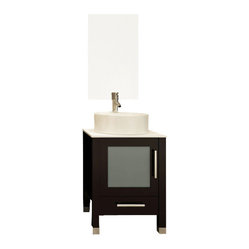 Mini Lune Small Vessel Sink Modern Bathroom Vanity Cabinet with Stone Top