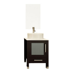 "JWH Imports - 23.7"" Mini Lune Small Vessel Sink Modern Bathroom Vanity Cabinet with Stone Top - With simple lines and space-saving size, this vanity cabinet isn't light on charm. Utilizing high-quality porcelain for the sink and countertop, paired with natural oak construction and a frosted glass cabinet door, this bathroom vanity is sure to be of service for years to come."