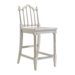 Stanley Furniture - Charleston Regency-Chippendale Counter Stool - The stately Chippendale Counter Stool features classic turned back splats and intricately carved front legs. A nickel-finished scuff plate thoughtfully protects stretchers. Inspired by the rich, thick gloss of marine paints, this particular white has been infused with a drop of cream