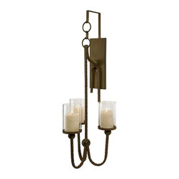 iMax - iMax CKI Eliza Candle Wall Sconce X-73801 - The three pillar Eliza Candle Wall Sconce features twisted metal rope and iron bit rings, perfect for complimenting an equestrian themed decor, but versatile enough to blend into any study. Designed exclusively by internationally acclaimed designer Carolyn Kinder.