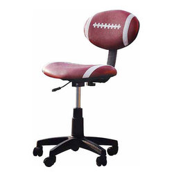 Acme Furniture Maya Football Office Task Chair - When there's no practice and no game going on, sometimes a kid just has to study. But it's more fun in a desk chair that looks like their favorite pastime.