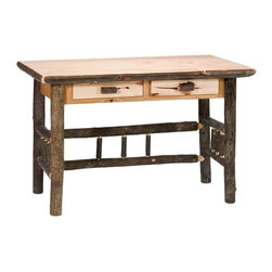 Fireside Lodge Furniture - Hickory 2 Drawer Log Writing Desk (Rustic Ald - Finish: Rustic Alder in StandardHickory Collection. 2 Drawers. All Hickory Logs are bark on and kiln dried to a specific moisture content. Clear coat catalyzed lacquer finish for extra durability. 2-Year limited warranty. 50 in. W x 26 in. D x 30 in. H (160 lbs.)