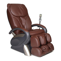 Cozzia - Cozzia 16020 Massage Chair, Brown - The Cozzia Model 16020 Massage Chair is the perfect way to quickly recover from the activities of a busy day. This distinctive massage chair features a futuristic design with generous padding and beautifully tailored upholstery. Massage actions include kneading, clapping, tapping, rolling, dual-action, tri-action and vibration, and the innovative Auto-Scan feature automatically adjusts each massage to the user body. Six pre-programmed massages are included, each with customizable strength, speed and intensity. An Air Pressure System delivers an invigorating massage to the seat, calves and feet, and an LED remote allows you to easily adjust speed, roller and massage areas. The angle of the backrest and footrest adjust automatically, and each 15-minute massage program has an automatic shutoff. Durable synthetic leather has the look, feel, and comfort of real leather. Available in either black or brown.