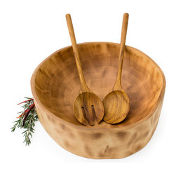 "Bambeco Salad Bowl and Server Set - Let the beauty of natural wood grace your table. The Salad Bowl and Server Set takes natural woods to whole new heights. The teak serving set is made from logging industry remnants, so no new trees are cut down to create these stunning pieces. The mango bowl can be used as a salad bowl, fruit bowl, centerpiece, or more. It's handcrafted from reclaimed mango wood, so no two bowls will be alike. Unique, beautiful, stylish and sustainable.  Dimensions: Servers – 13"" L; Bowl – 4"" x 11""  Care: Hand wash with hot water and mild soap and allow to dry. Apply food safe oil to condition and protect wood."