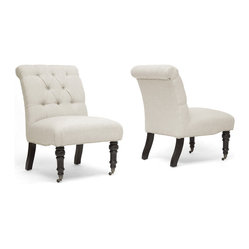 "Baxton Studio - (Set of 2) Belden Beige Linen Modern Slipper Chair - Youll love the how the versatility of this slipper chairs form mixes with plentiful design details. This is a set of two beige linen club chairs with CA117 flame retardant foam cushions, birch wood frames and legs, and button tufting. Wait, theres more: a scroll-shaped backrest, wheeled front legs, stationary back legs, and a sleek black finish on all four. The Belden Modern Living Room Chair is Chinese-made, requires assembly, and is also available in charcoal gray (sold separately). Spot clean only. Product Dimension: 24""W x 30.75""D x 35.25""H Seat Dimension: 24""W x 20""D x 19""H."