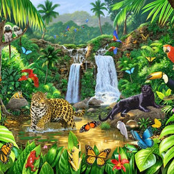 Murals Your Way - Rainforest Harmony Wall Art - Twin waterfalls spill into a verdant jungle pool inhabited by some of nature's most colorful creatures