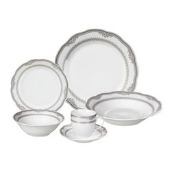 """Lorren Home Trends - 24 Piece Fine Wavy Edge Porcelain Dinnerware Set, Amelia design, Victoria - LH404-Victoria.  This 24 Piece Fine Wavy Edge Porcelain Dinnerware Set is a complete service for 4.  This set features a wavy edge with an elegant and stylish silver border trim design. Made of fine and durable porcelain.  Great for everyday use or elegant enough for a special occasion. Set includes 4-10.5"""" dinner plate, 4-8"""" Soup plate, 4-7"""" Salad plate, 4-7 ounce coffee cup and 4-saucers, 4-5.5"""" fruit/cereal bowl.  Dishwasher safe."""