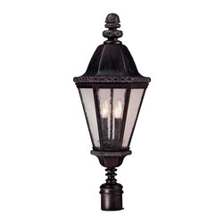 Savoy House - Canterbury Post Lantern - The sumptuous bark and gold finish of this regal lantern is majestic, while the classic shape will make it right at home in front of your door. Let this lantern guide your path!
