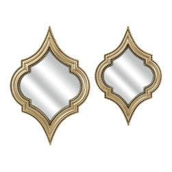 """IMAX CORPORATION - Marietta Wall Mirrors - Set of 2 - The champagne finish and interesting shape of this set of two Marietta wall mirrors adds modern sophistication to any room. Set of 2 in various sizes measuring around 28.75""""L x 19.5""""W x 4""""H each. Shop home furnishings, decor, and accessories from Posh Urban Furnishings. Beautiful, stylish furniture and decor that will brighten your home instantly. Shop modern, traditional, vintage, and world designs."""