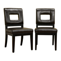 Baxton Studio - Baxton Studio Faustino Dark Brown Leather Dining Chair Set of 2 - Drawing inspiration from geometry, this contemporary leather chair