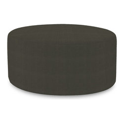 """Howard Elliott - Sterling Charcoal Universal 36"""" Round Ottoman - Simple design, infinite uses. 36"""" Rounds make great side tables, ottomans, alternate seating and more. Constructed by our expert craftsmen, our 36"""" Rounds are made with a sturdy base and high-density foam. This Sterling Charcoal piece is 100% polyester finished in a soft burlap charcoal grey color. 36 in. Diameter x 18 in. H"""