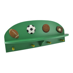 Zeckos - Sports Themed Wall Plaque with Shelf and Hooks - This sports themed wall plaque has four hooks to hang keys, leashes, coats, and anything else you can think of. For added convenience, this wall plaque includes a shelf that's perfect to place a coin dish so you can empty your pockets when you walk in the door, too This all wood plaque is 19 inches long and 9 inches high and makes the perfect gift for your little birdie that's leaving the nest for the first time