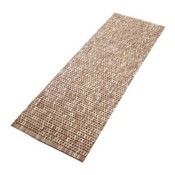 Lattice Double Wooden Mat - Wood chip flooring remnants find new life in hand-cut and –assembled bath mats. Woven-like design shows off color variations adding visual interest and organic appeal to the bath. Generously sized to place before a double sink.